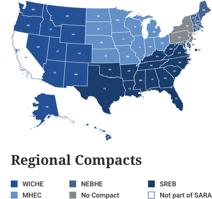 Map of US highlighting participating SARA states
